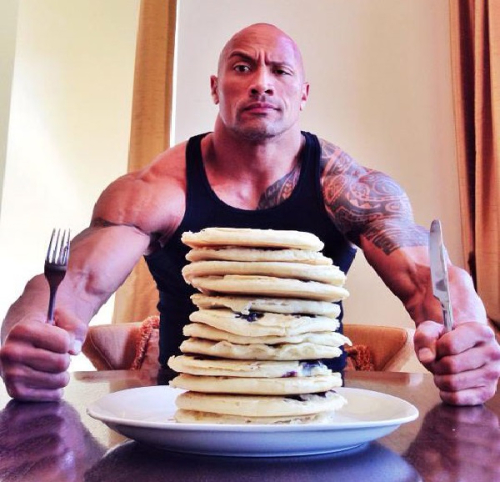 The-rocks-diet-eating-pancakes